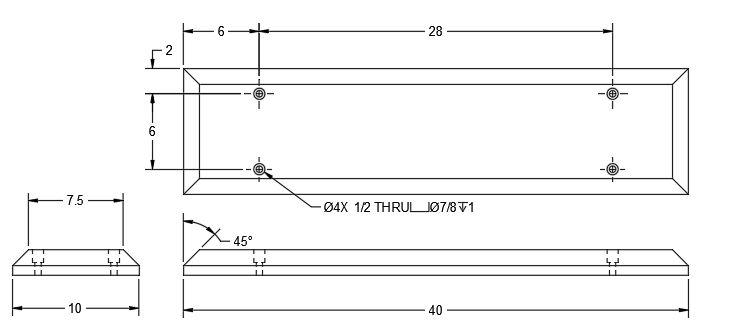 072511-01 HOIST CABLE WEAR BLOCK DIMS